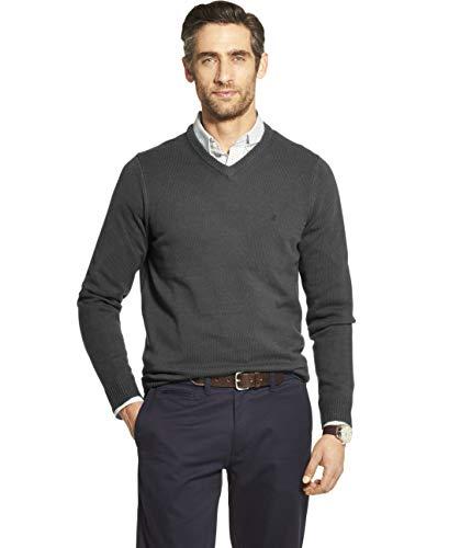 IZOD Men's Premium Essentials Solid V-Neck 7 Gauge Sweater, ASPHALT, 2X-Large