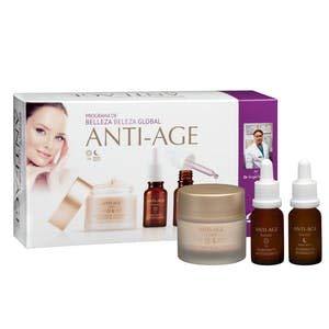 Lote facial mujer Deliplus programa de belleza anti-age contiene crema facial 50 ml, booster día 15 ml y booster noche 15 ml