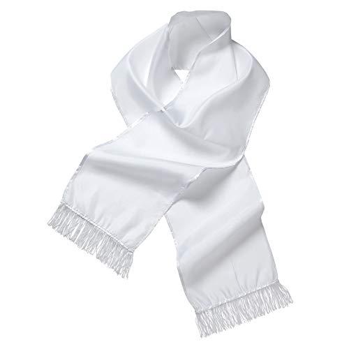 Widmann 9148S - Schal, aus Satin, weiß, 140 x 26 cm, Kostümzubehör, Accessoire, Charleston Outfit, Motto Party, Karneval