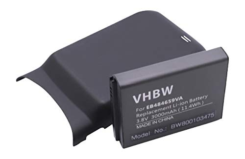 Batteria estesa LI-ION per SAMSUNG Galaxy W, GT-i8150 sostituisce EB484659VA, EB484659VABSTD, EB484659VU, EB484659VUBSTD, TH1B825AS/5-B 3000 mAh