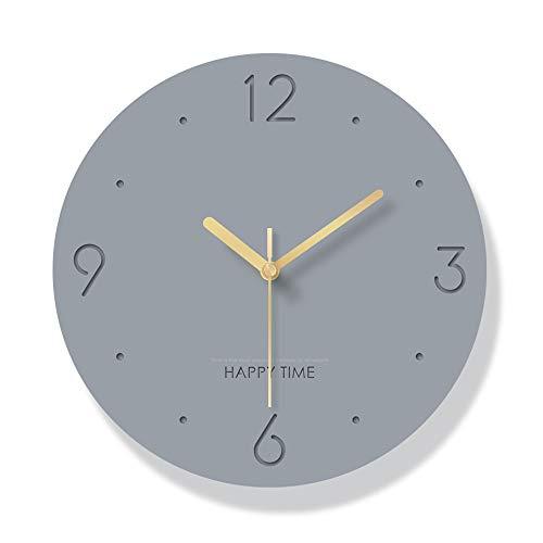 JYCTD Moderno Acrílico Reloj de Pared, 12 In Creativo 3D Ronda Mute Cuarzo Moda Grande Decorativo para Cocina Sala de Estar Dormitorio Baño Regalo de la Oficina, Gray