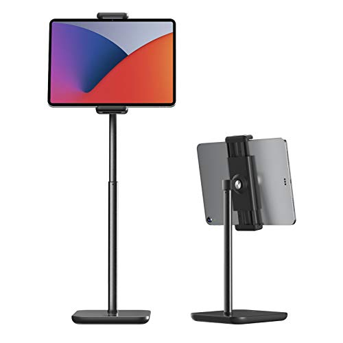 Tounee Tablet Stand and Holder for Desk, Height Adjustble to 21' Tablet Holder Stand Compatible with iPad Pro 12.9,10.9,10.2, Air Mini 4 3 2, Fire, Kindle, iPhone (4.7''-12.9'') - Black