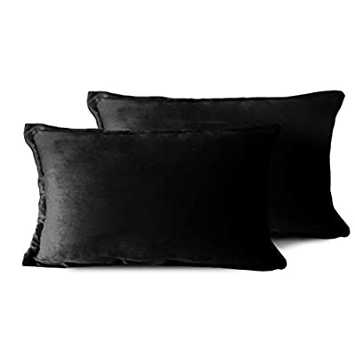 Edow Velvet Throw Pillows (Set of 2), Soft Fluffy Down Alternative Polyester Stuffing Decorative Pillows for Home Decor, Sofa, Couch, Bed, Office and Car.