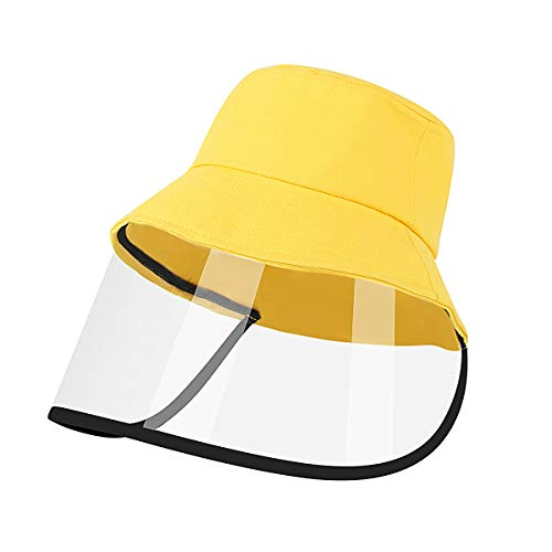 Hat with Face Shield for Kids, Cute Sunhat Cap with Clear Shield Dust Rain Proof Fisherman Hat(Yellow)