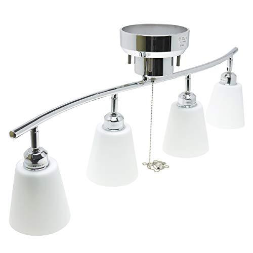 4灯シーリングスポットライト・クロームメタルフレーム・ガラスシェード 【シェードカラー:乳白色】