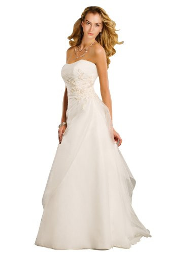 Wedding House A-Linie BRAUTKLEID Hochzeitskleid Organza Trägerlos mit Deckleisten und Applikationen (40, Weiß)