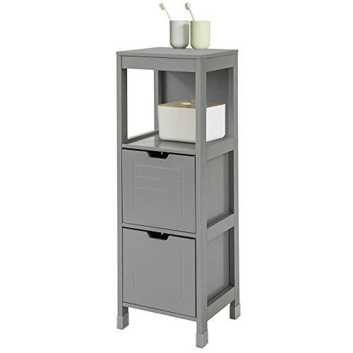 SoBuy FRG127-SG Mueble Columna de baño Armario para baño-1 estantes y 2 Cajones ES (Gris Oscuro)
