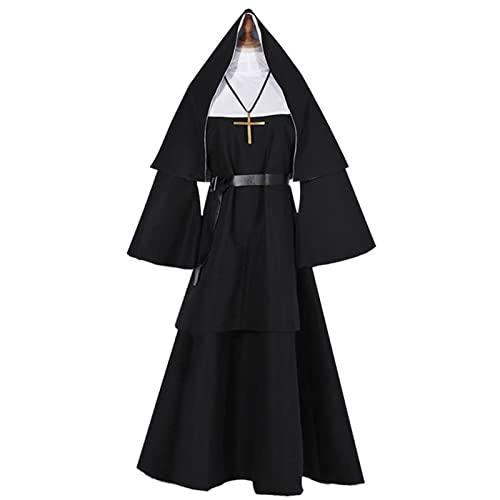NASTON Disfraz de Cosplay de Monja Fantasma de Halloween, Trajes Tradicionales de tnica Negra de Sacerdote, S-3XL,Negro,3XL