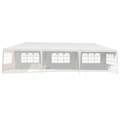 COSTWAY 3x9m Gartenpavillon Partyzelt mit 5 abnehmbaren Seitenwände, Faltpavillon Bierzelt UV-Schutz, Gartenzelt faltbar, Faltzelt Pavillon