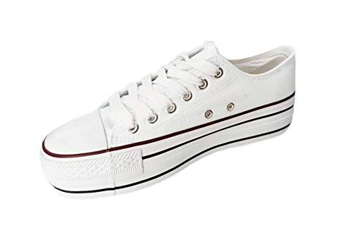 Zapatillas Blancas Maxi Plataforma Mujer Triple Suela 5cm Deportivas Canvas de Lona sin Marca ni Logotipos, Blanco T.37