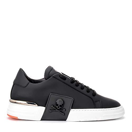 Philipp Plein Sneaker Lo-top Original Aus Schwarzem Leder Mit Schwarzem Gummiertem Logo