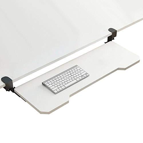 XZGDEN Madera Bandeja De Teclado con Abrazadera Bandeja De Teclado Ergonómica Keyboard Tray Retráctil-Blanco,75x25cm