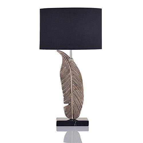 SXNYLY Negro lámpara de Mesa de Noche Dormitorio lámpara Moderna Minimalista Pluma Retro Sitio Hoja de Estar lámpara de Escritorio de Lino Pantalla Tocador, lámpara de Estudio