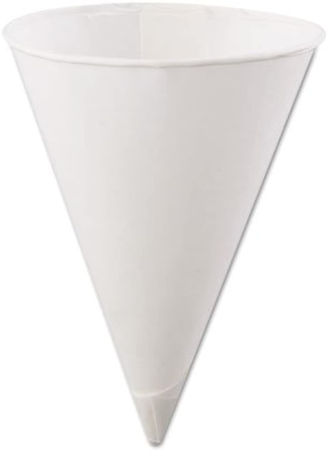 Konie 45KR Rolled Rim Paper Cone Cups, 4.5oz, White, 200 per Bag (Case of 25 Bags)