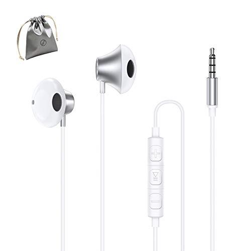 ZERKAR In Ear Kopfhörer, 3.5mm Wired Ohrhörer mit Mikrofon, Stereo Bass Earphones Noise Isolating Headphones Kompatibel mit iPhone, iPod, iPad, MP3, Huawei, Samsung