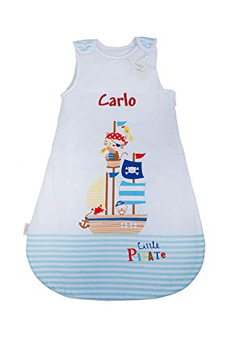Wolimbo Baby Schlafsack mit Namen bestickt PIRAT Motiv ganzjährig 70cm