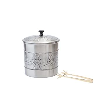 Old Dutch Victoria 3-Piece Ice Bucket with Liner and Tongs, 7 by 9-Inch