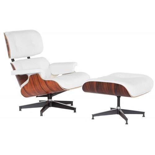 Inspiriert von Charles Eames Ledersessel, mit Polsterhocker, Palisander, Walnuss, Eschenholz, Weiß italienisches Leder (Rosewood)