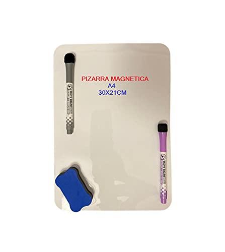 N/A+ Pizarra Magnética Blanca A4 para Nevera - Cocina - Menú - Lista Compras - Recordatorio Plan Diario - Planificador - TAMAÑO Folio