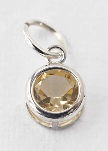 Small Genuine Citrine Charm Pendant in Sterling Silver - November Birthstone - DIY Jewelry Making - Birthday Gifts for Women