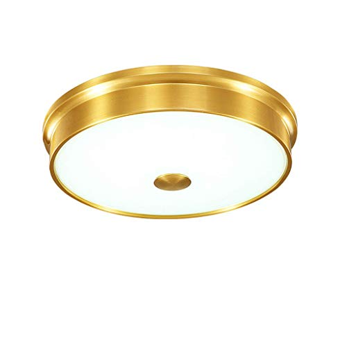 SPNEC Iluminación de Techo de Cobre, Redondo de Cristal Pantallas de iluminación de la lámpara Decorativa, Dormitorio balcón Cuarto de baño Simple lámpara de Techo
