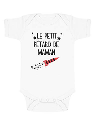Green Turtle T-Shirts Cadeau Maman Fête des Mères Le Petit pétard de Maman Body Bébé Manche Courte 3-6 Mois Blanc