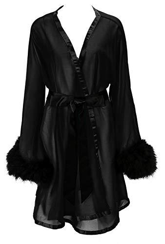 Yexinbridal Women's Feather Robe Fur Trim Silky Chiffon Sheer Sexy Illusion Lingerie Nightgown Sleepwear Bridal Wedding Day Black S/M