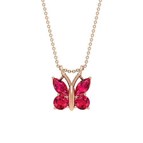 Collar de mariposa de rubí de 2,80 quilates, forma marquesa, colgante de piedra preciosa roja, corte redondo de julio, 18K Oro rosa Sin cadena