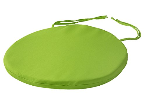 Round Bistro Circular Chair Cushion With Ties Seat Pads For Dining Chairs Kitchen Garden Italian Fabric Removable Cover Indoor Outdoor Seat Pad Cushions Living Room Patio Office Shop LIME GREEN