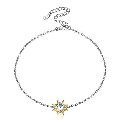 Blue Cubic Zirconia Sun Anklet for Women 925 Sterling Silver Bohemian Jewelry Foot Ankle Bracelet Boho Barefoot Jewelry