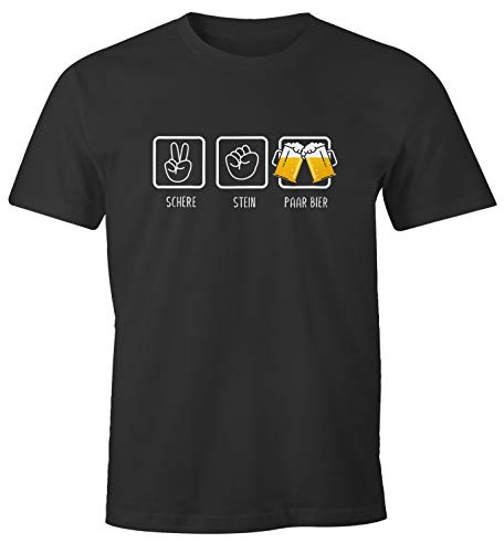 MoonWorks® Herren T-Shirt Schere, Stein, Paar Bier lustiges Trink Shirt Saufen Bier Party anthrazit S