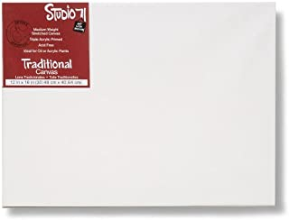 """Studio 71 Medium Weight Traditional Stretched Canvas – 12"""" x 16"""" Painting Canvas for Oil or Acrylic Paints, Triple Acrylic Primed Wood Frame Canvas, Acid-Free"""