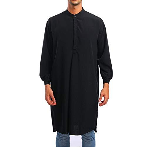 Yczx Herren Robe Ethnische Langarm Islamischer Moslemischer Mittlerer Osten Maxikleid Lose Einfarbig Elegante Kleid Kaftan Saudi-arabische Rundhals Kaftan Lange Bluse Tops Muslim Arbeitshemd M