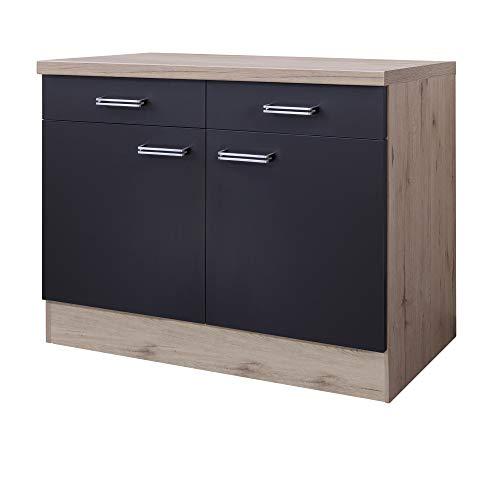 MMR Küchen-Unterschrank LONDON - Küchenschrank - 2-türig - 2 Schubladen - Breite 100 cm - Anthrazit