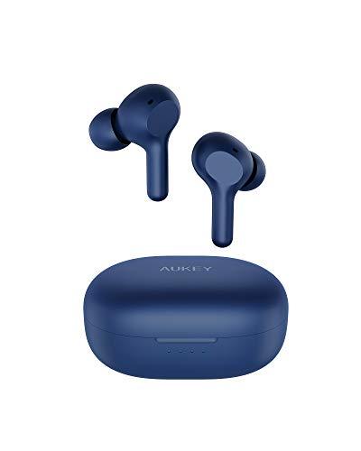 AUKEY Bluetooth Kopfhörer Kabellos In Ear mit Soliden Bass, Bluetooth 5, USB-C Quick Charge, Integriertem Mikrofon, 25 Std. Laufzeit, IPX5 Wassersdicht, Sport Ohrhörer (Upgraded) (Blau)