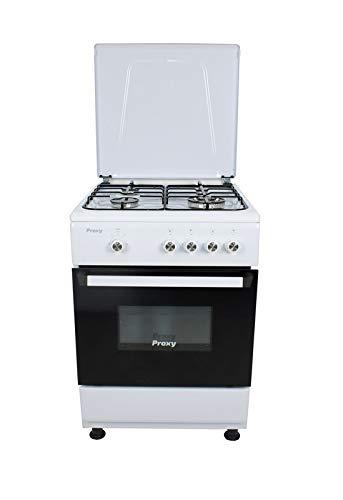 Cocina 60 cm de ancho con horno PROXY, color blanco, 4 fuegos (incluye 1 Triple Fuego) y horno con grill a gas (butano o natural).