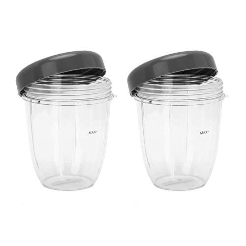 Lot de 2 tasses de 510 g avec couvercle plat pour mixeur NutriBullet 600 W 900 W