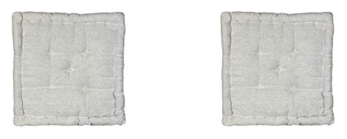 Homevibes Cojín para Silla, Cojin Cuadrado, Juego de 2 Cojines para Suelo o Pallet, Medidas 40 x 40 x 7 cm para Interior o Exterior, Hecho 100% de Algodon, Ideal para Decoración (Crudo)