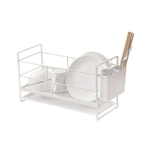 HGHGF Inoxidable de Almacenamiento de Cocina en Rack, Estante de Secado for la Cocina de Acero Plato Longitud Secadora Ajustable, Blanca