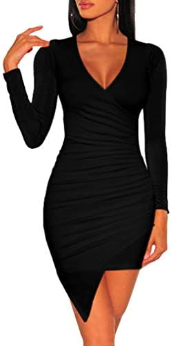 ZileZile Women s Sexy Bodycon Long Sleeve Ruched Deep V Neck Wrap Club Mini Dress Black product image