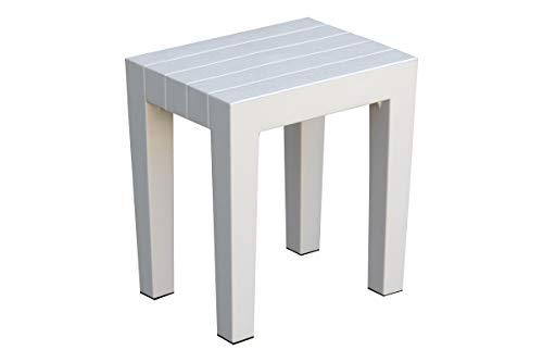 DesignByIntent Polypropylene White Shower Stool