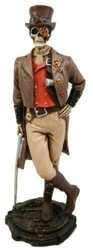 "Steampunk Skeleton Costume Gentleman Figurine 8.75"" H Detective Inspector Gadget - Favorite Decor Store"