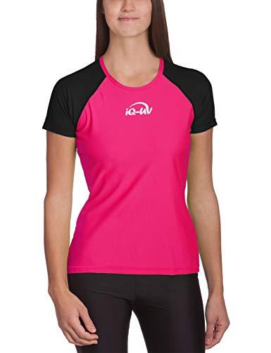 iQ-UV Damen 300 Regular Geschnitten, Uv-Schutz T-Shirt - Black-Pink - Gr. M (40)
