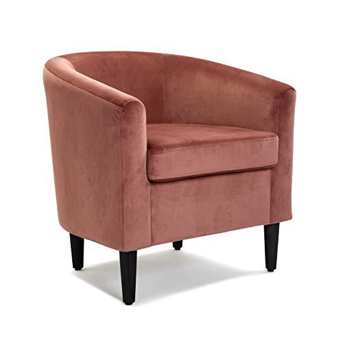 Versa Terracota Butaca para Salón, Dormitorio o Comedor, Sillón confortable y diferente, con Apoyabrazos, Medidas (Al x L x An) 62 x 60 x 62 cm, Algodón y Madera, Color Rosa