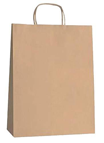 Yearol K07 25 Bolsas de papel kraft marron grandes con asas. 36 * 27 * 12 Para regalos, eventos, bodas, cumpleaños, comercio, compra, venta, manualidades, embalaje, transporte, eventos. Base plana.