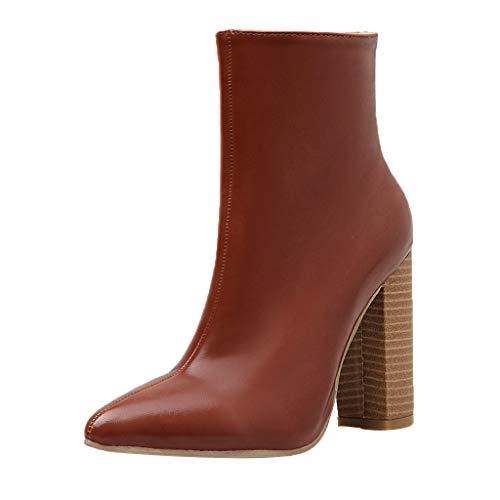 Yowablo Stiefel Frauen Spitzzehen Reißverschluss Dicke Stiefeletten Schuhe mit hohen Absätzen Stiefel mit dicken Absätzen (37,Braun)