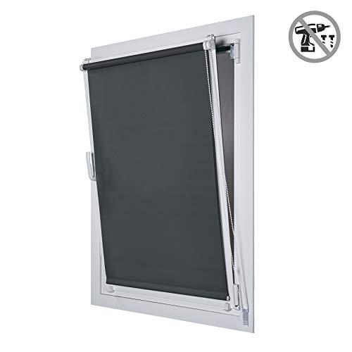 STORESDECO Estor Enrollable Opaco EasyFix, fácil instalación sin taladrar, Ideal para Ventanas abatibles (75 cm x 180 cm, Gris)