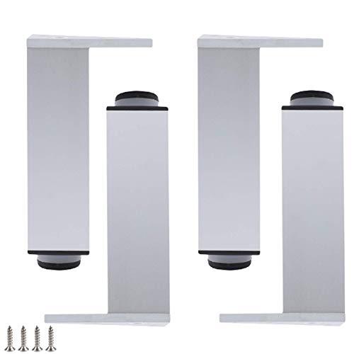 YWYW Juego de 4 Patas Plateadas para Muebles Patas de aleación de Aluminio Patas de Cocina de Altura Ajustable Patas de Mesa cuadradas Patas de gabinete para mesas de café Armario cargable