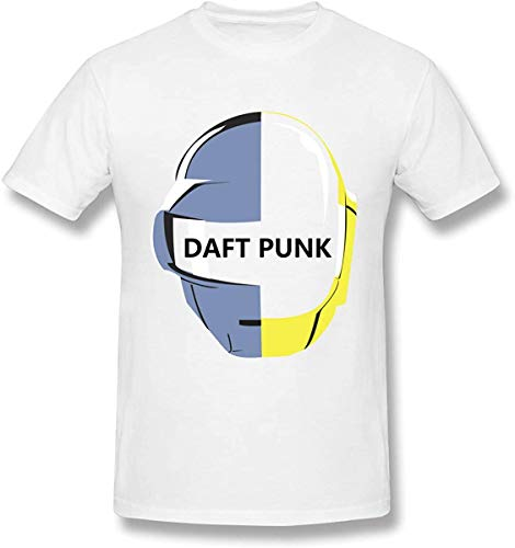 Asuuats JIkLQmvtb Daft Punk Creative Men's Basic Short Sleeve T-Shirt Colorful Print Graphic Tee Shirts,White,XX-Large