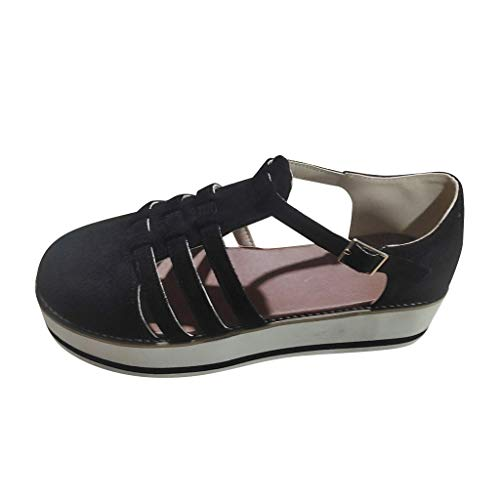 Yowablo Schuhe Damen Hollow-Out Runde Zehen Flats Heel Thick Bottom Buckle Strap Casual (38,6Schwarz)